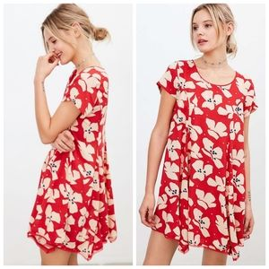 Silence + Noise Red Floral T-Shirt Swing Dress